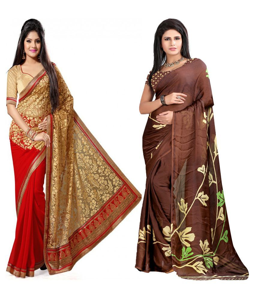 Indianefashion Designer Multi Brasso And Georgette Pack Of 2