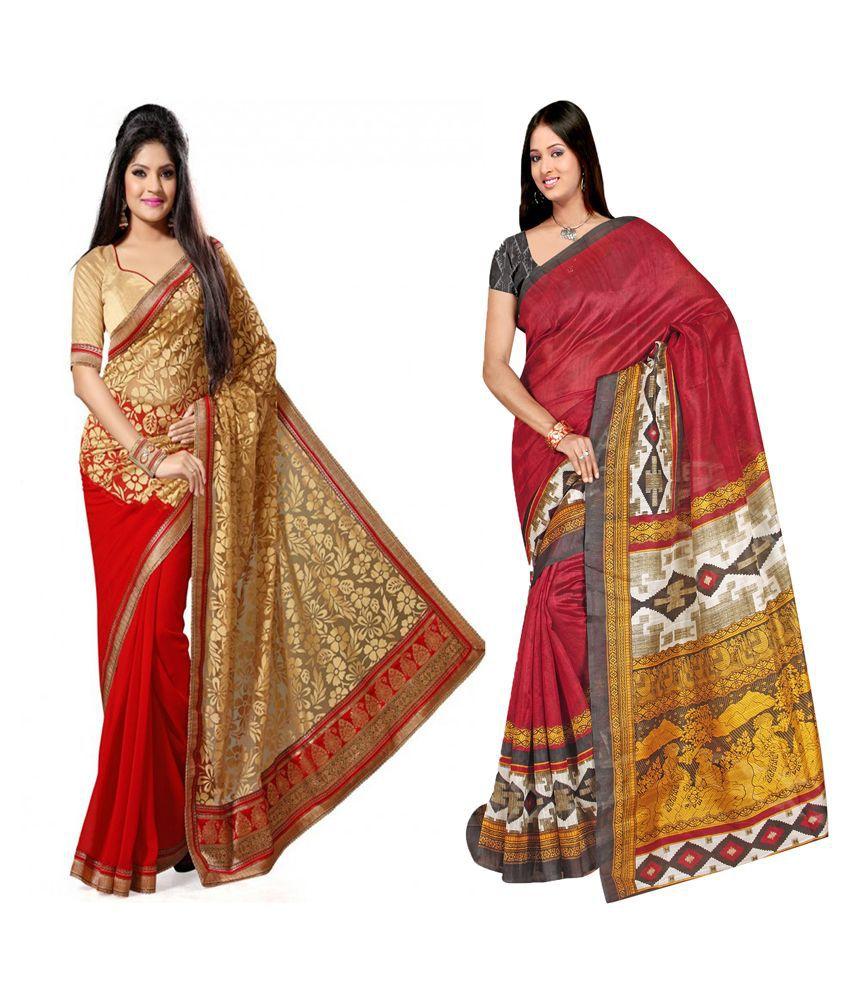 Indianefashion Designer Multi Bhagalpuri,Brasso Sarees Pack Of 2