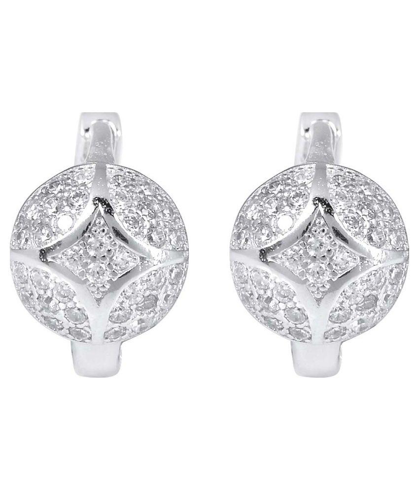 R S Jewels 925 Sterling Silver American Diamond Studded Ear Studs