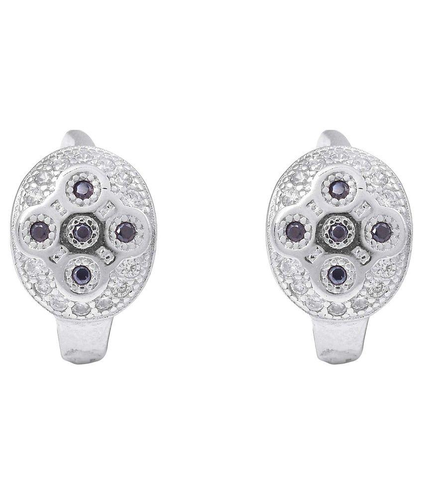 R S Jewels Earrings 925 Sterling Silver Cubic Zirconia Studded Ear Studs