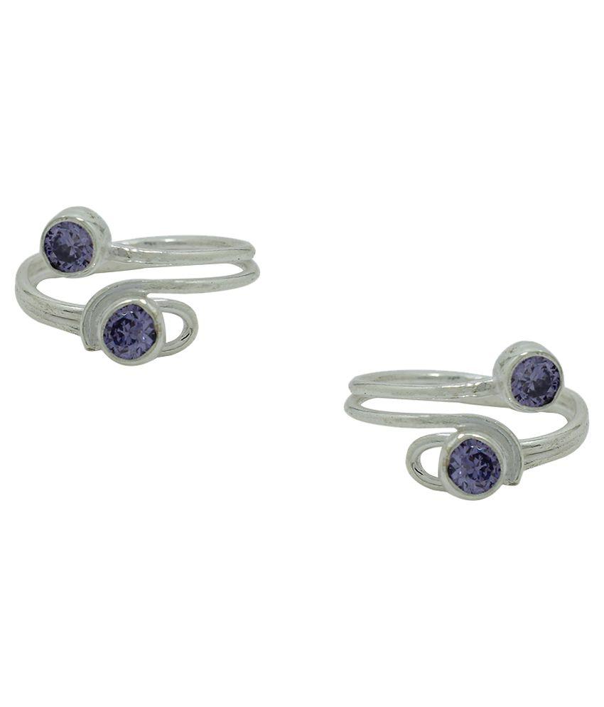 Frabjous Blue German Silver Toe-Ring