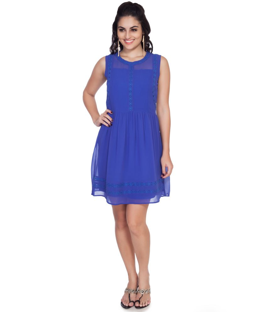 Soie Blue Georgette Dresses