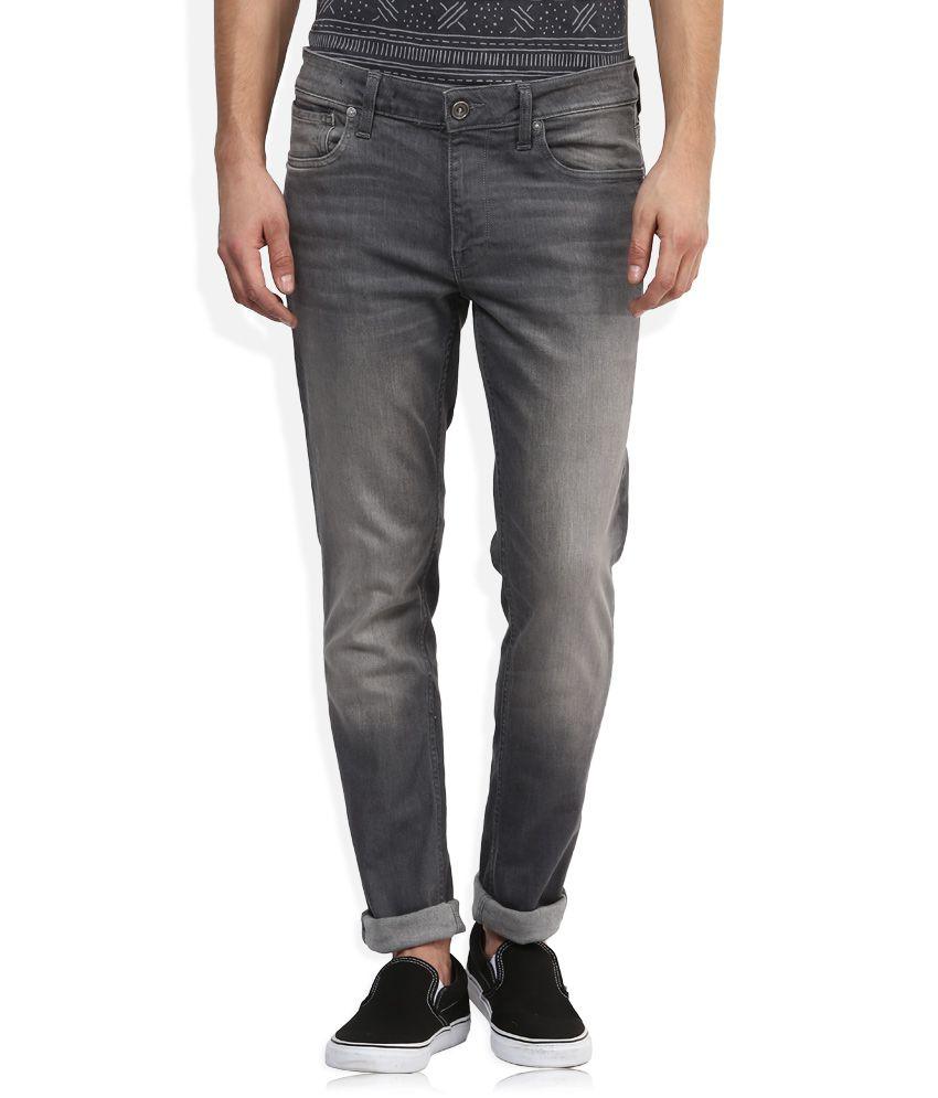 Voi Grey Light Wash Slim Fit Jeans
