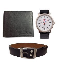 Keepsake Combo Of Black Men Wallet, Belt And Watch Diwali Gift Set