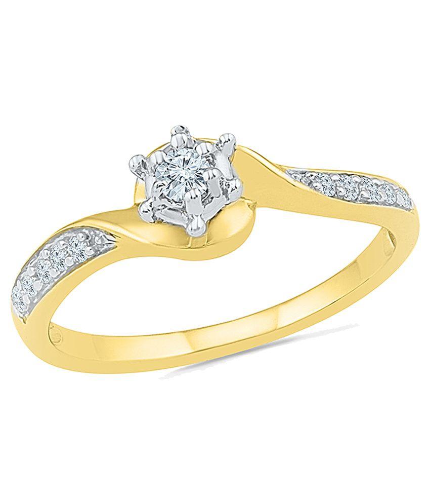 Radiant Bay 14Kt Yellow Gold Diamond Studded Ring