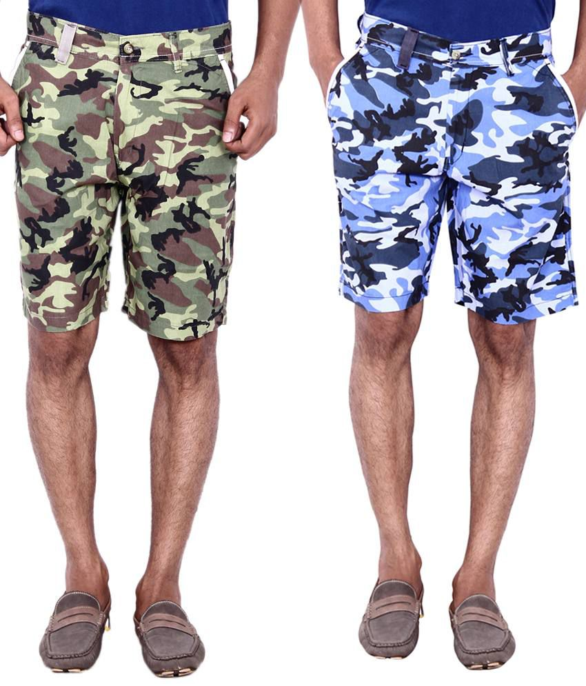 Calloway Multicolour Cotton Shorts Combo - Pack of 2