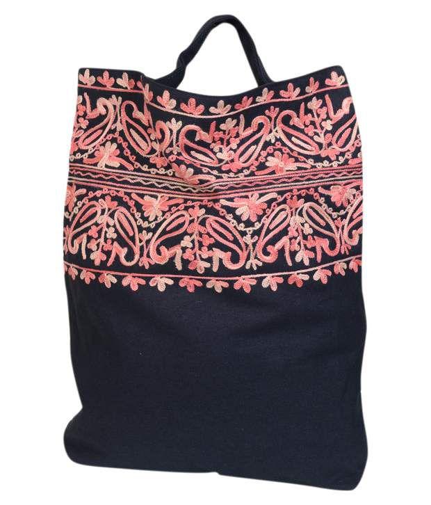 Moh Maya Blue and Pink Canvas Cloth Tote Bag