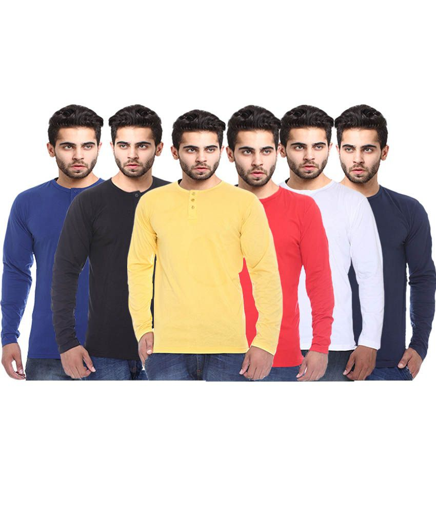 X-cross Multicolour Basics T Shirt - Set Of 6