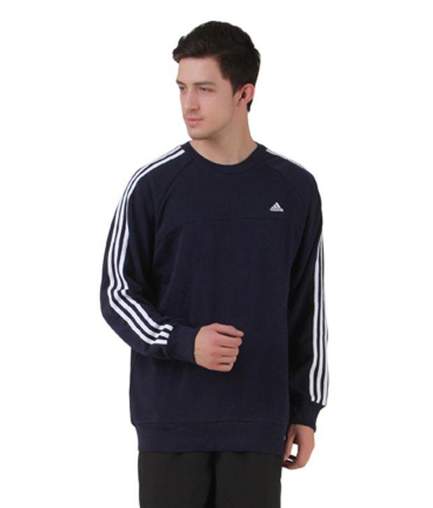 Adidas Navy Cotton Blend Round Sweatshirt