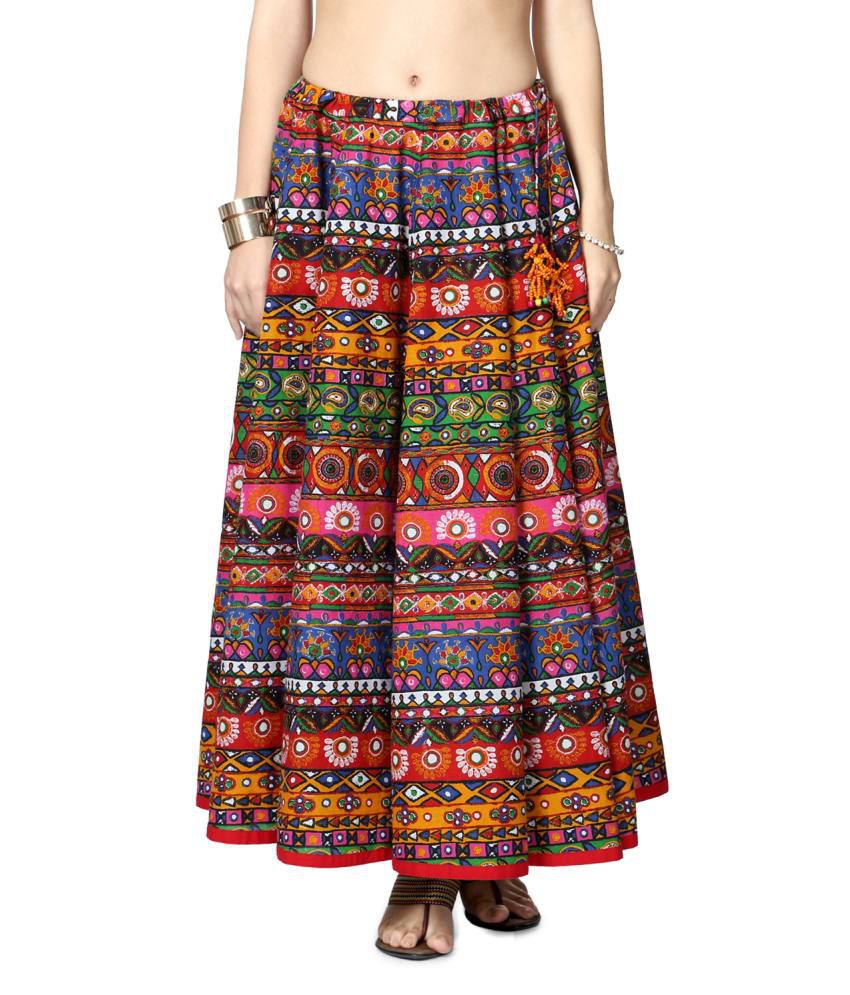 033e7fa04 Buy Akkriti by Pantaloons Orange and Blue Cotton Maxi Skirt Online at Best  Prices in India - Snapdeal