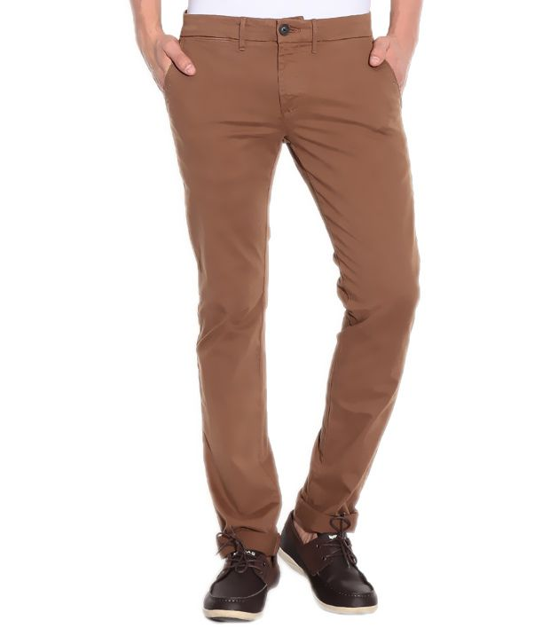 Cotton Brown Formal & Casual Trouser