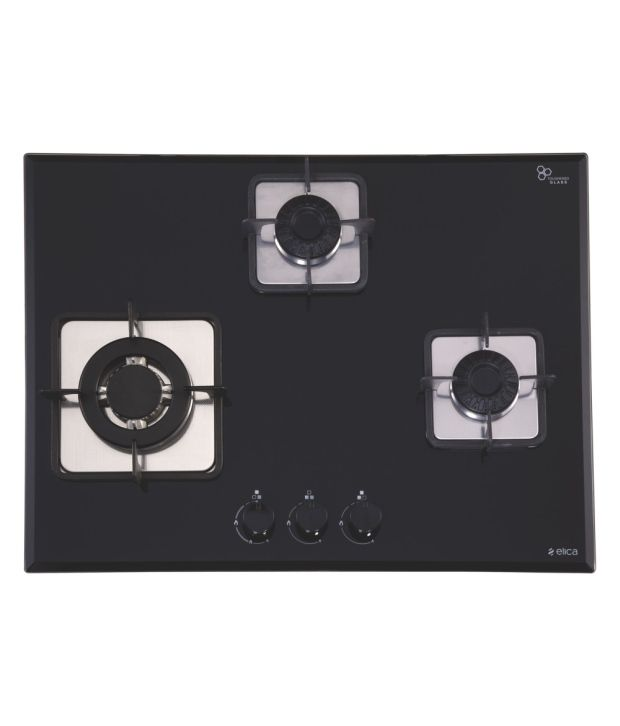Elica Vetro 3B-70-BT AI Swirl 3 Burner Gas Cooktop