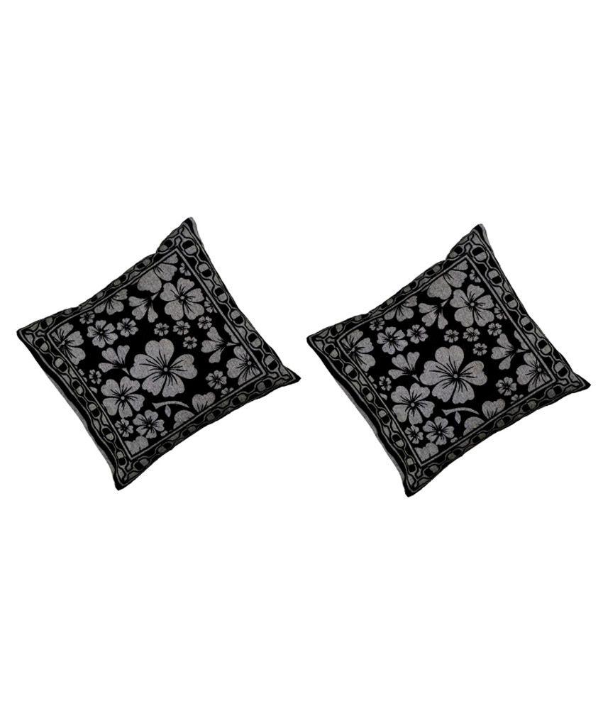 Shri Ji Black Printed Cotton Cushion Cover - Pack Of 2