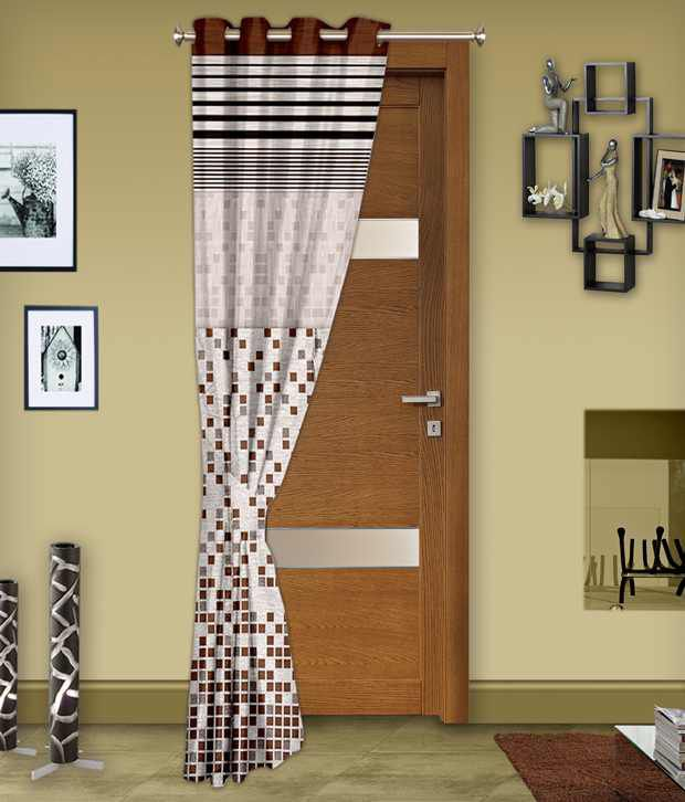 Story@Home Single Door Eyelet Curtain Contemporary Brown