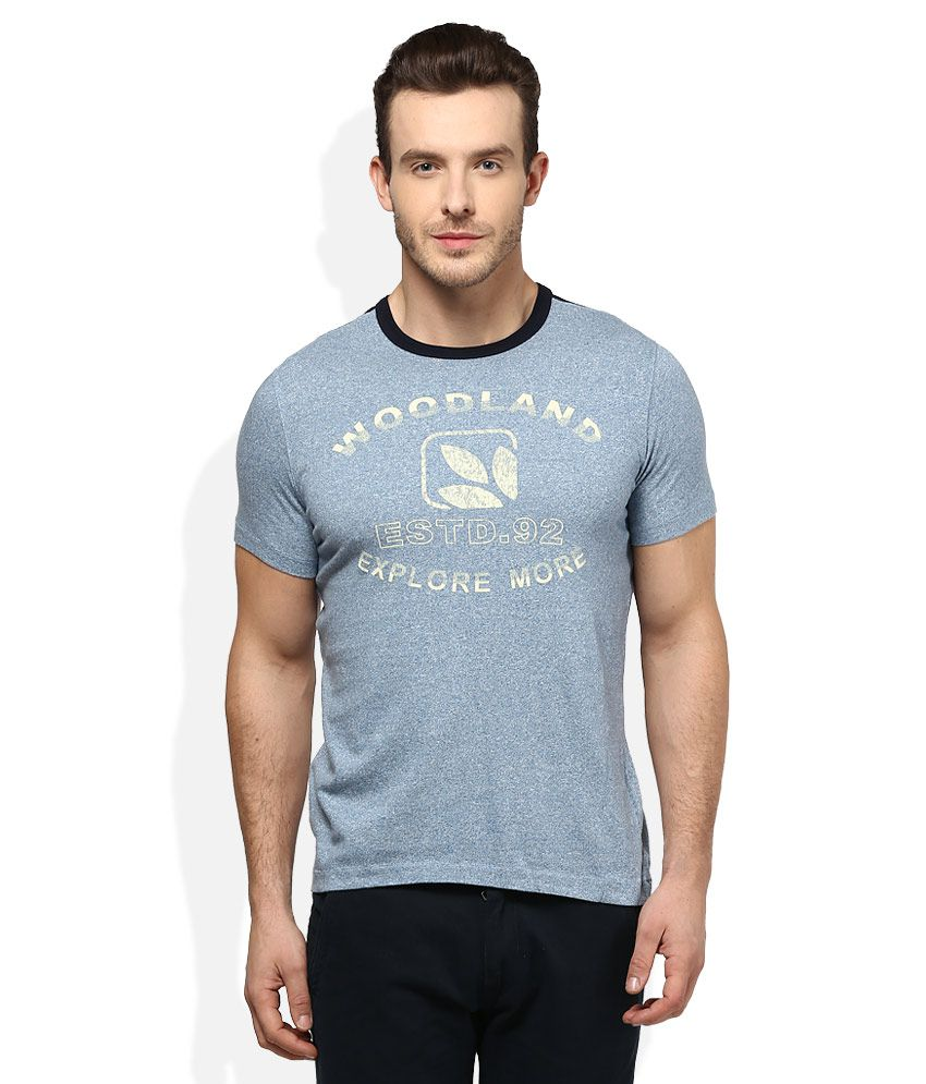 Woodland Blue Round Neck T Shirt