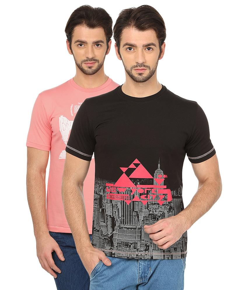 Date And Time Combo Of 2 Pink And Black Round Neck T Shirts