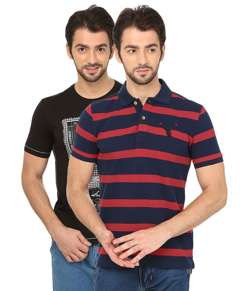 Date And Time Combo Of Black Cotton Blend T-Shirt And Red Polo T-Shirt