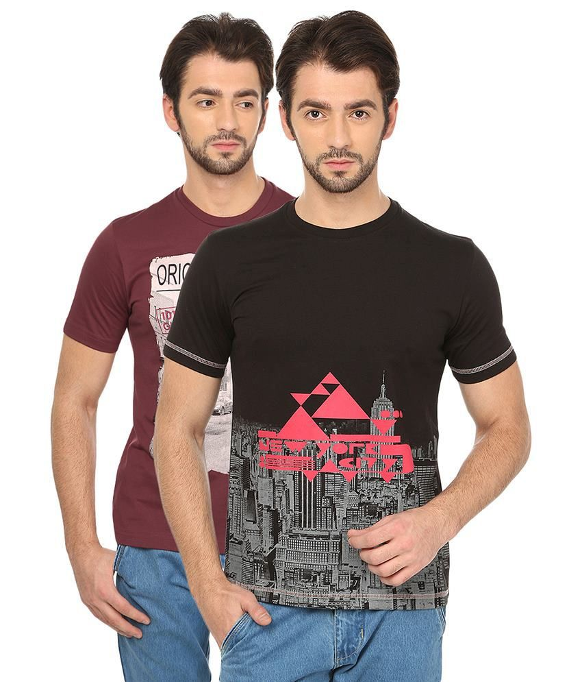 Date And Time Combo Of 2 Red & Black Round Neck T Shirts