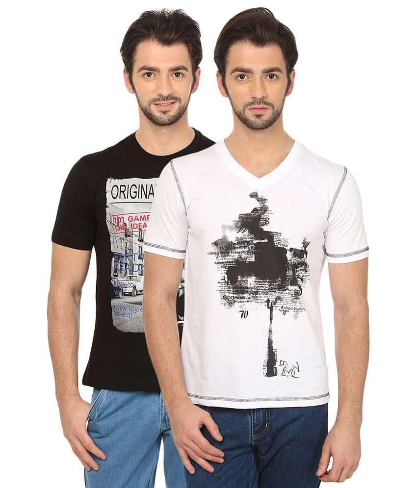 Date And Time Combo Of 2 Black & White Round Neck T Shirts