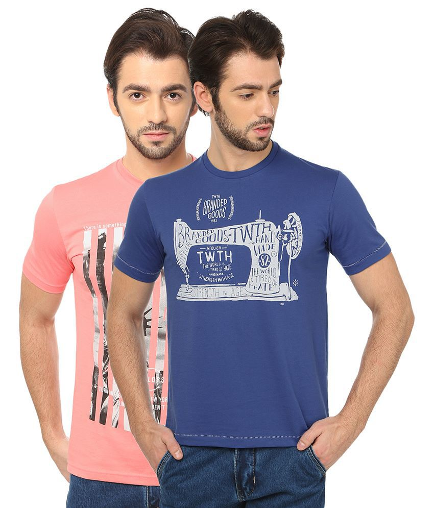 Date And Time Combo Of 2 Pink And Blue Round Neck T Shirts