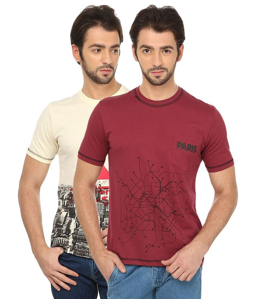 Date And Time Multicolour Cotton Blend T Shirt Pack Of 2