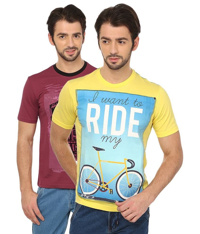 Date And Time Red and Yellow Cotton Blend T-Shirt - Pack of 2