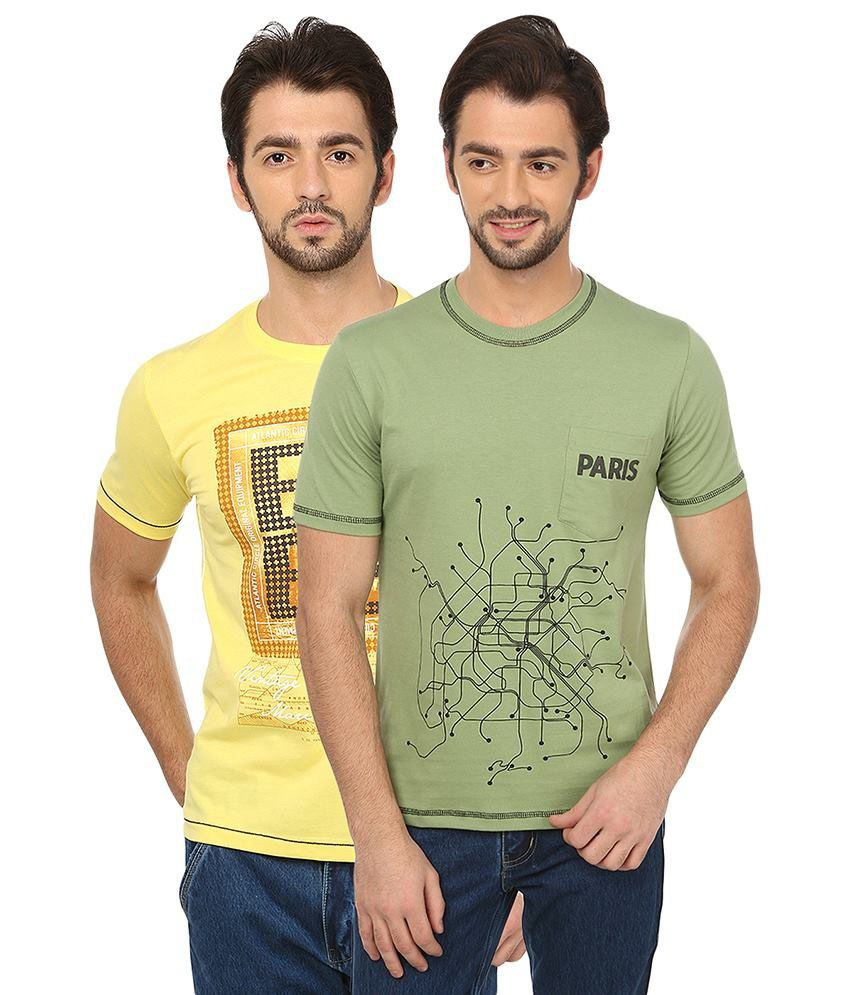 Date And Time Yellow And Green Cotton Blend T-Shirt - Pack Of 2