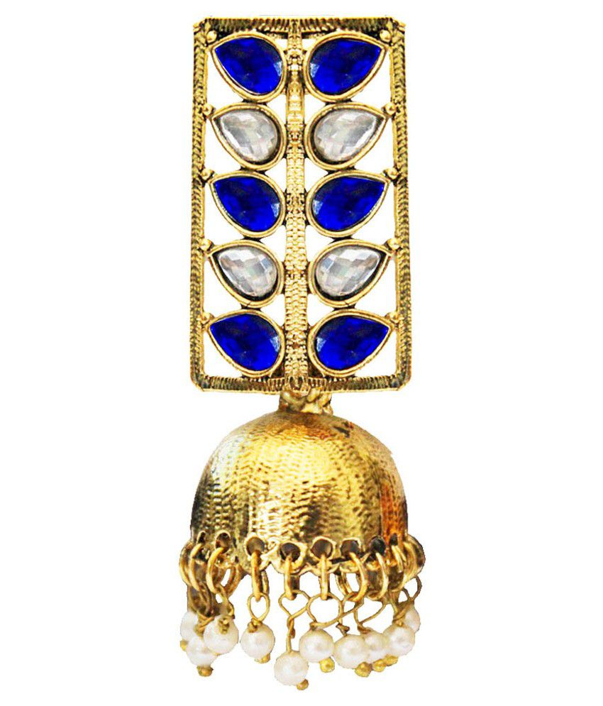Pihu Gold Plated Blue Stone With Pearls Drop Jhumki Earring
