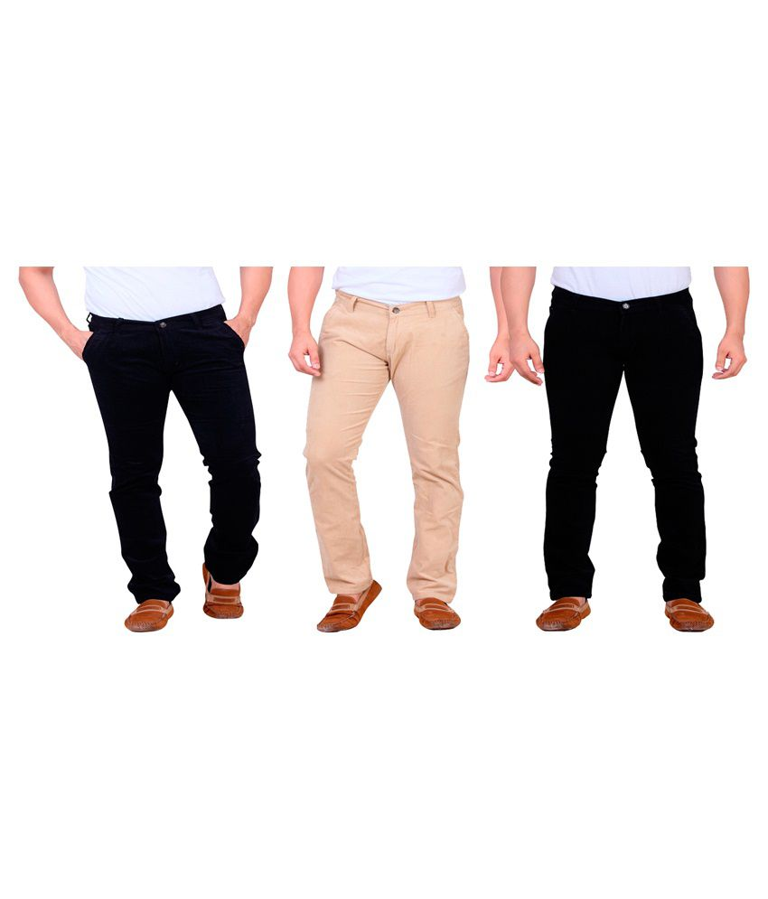 Private Image Black & Beige Slim Fit Casual Trouser Pack Of 3