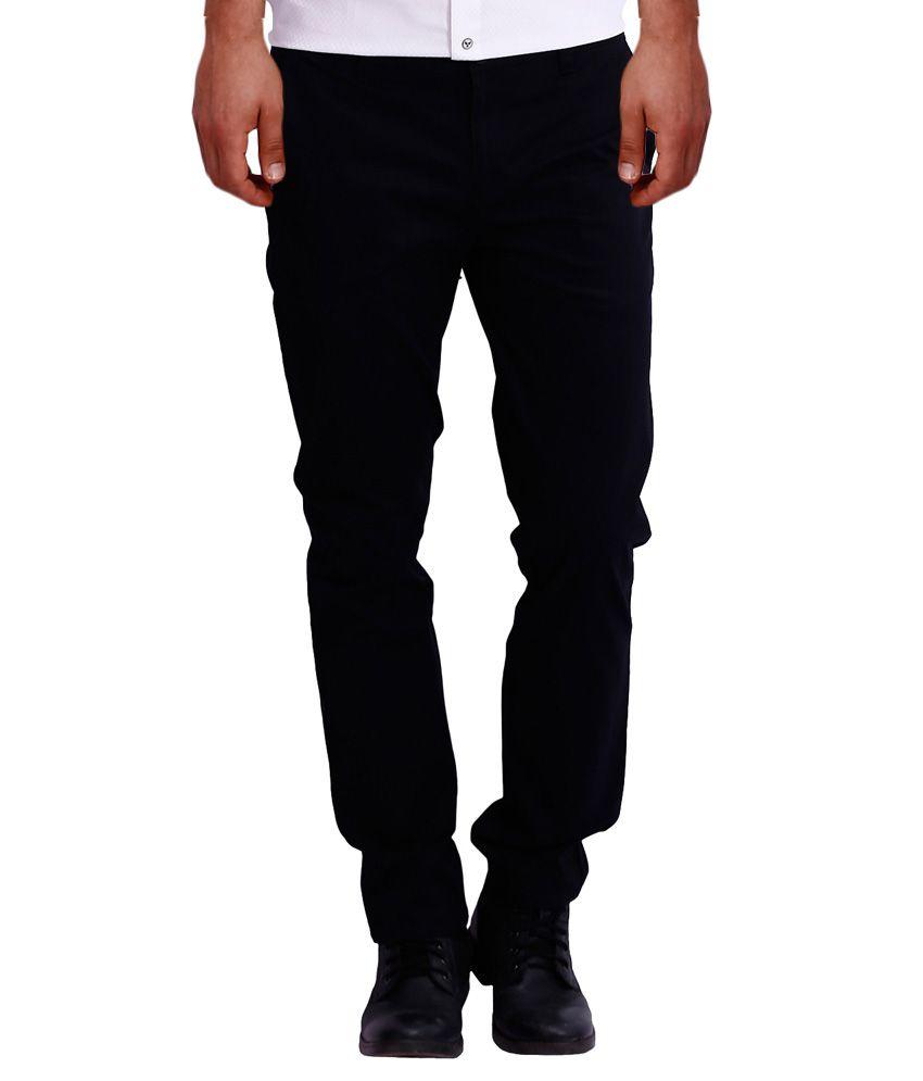 Blue 77 Black Regular Fit Casual Trouser