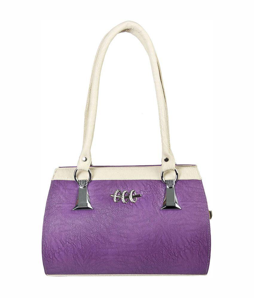 Louise Belgium Purple & White Designer Women's Handbag