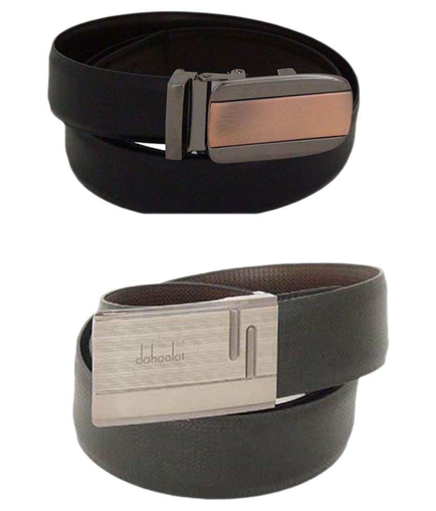 SFA Black and Brown Reversible Autolock Buckle Belt - Pack of 2