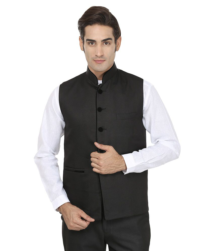 Wintage Black Rayon Waistcoat