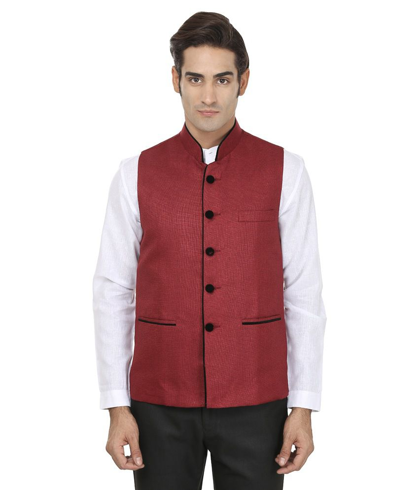 Wintage Red Rayon Waistcoat