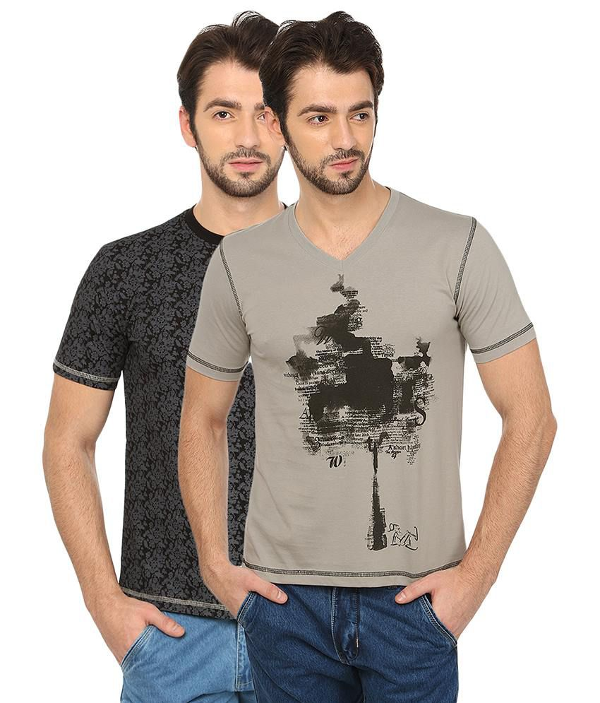 Date And Time Black Cotton Blend Half Sleeves T Shirt - Pack of 2