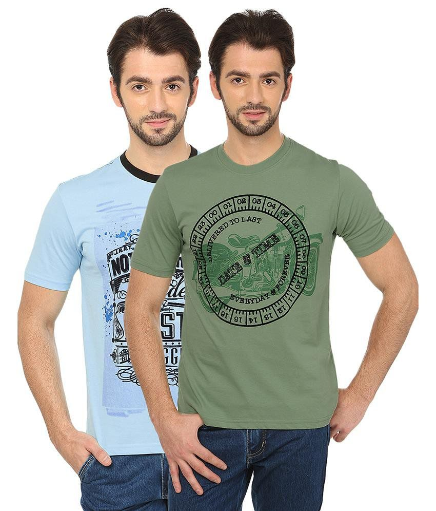 Date And Time Blue and Green Cotton Blend T-Shirt - Pack of 2