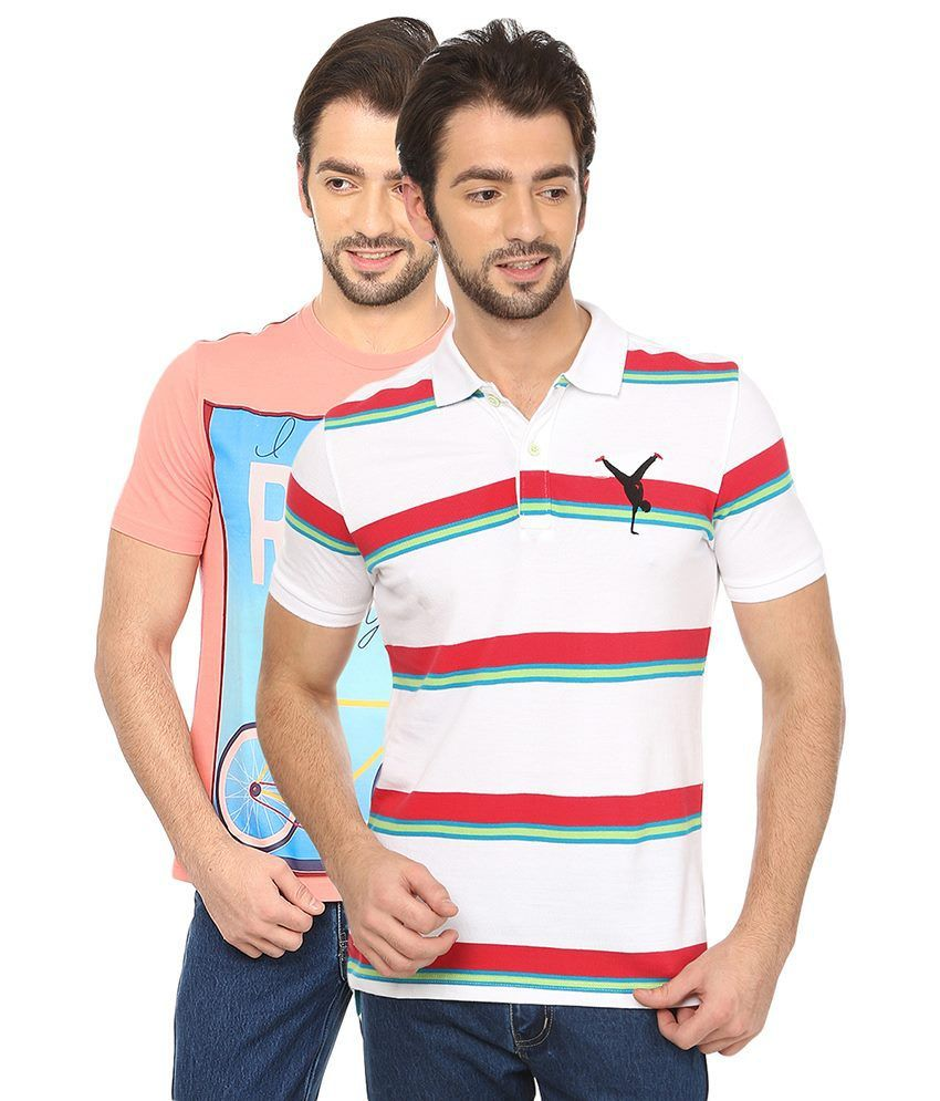 Date And Time Combo Of Pink Round Neck T Shirt & White Polo T Shirt