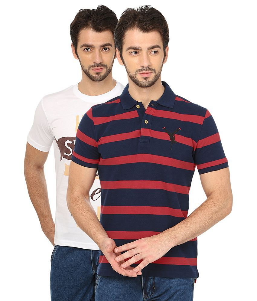 Date And Time Combo Of White Cotton Blend T-Shirt And Red Polo T-Shirt