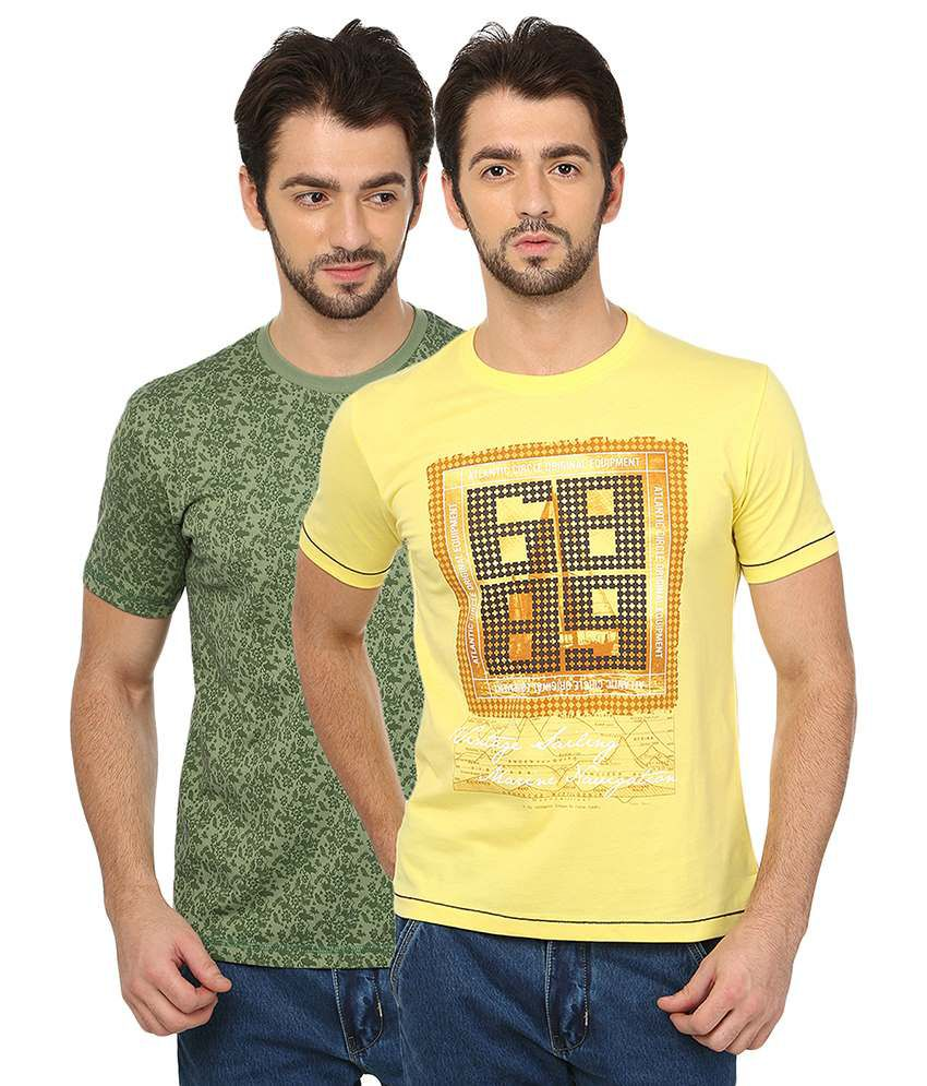 Date And Time Green Cotton Blend Half Sleeves T Shirt - Pack of 2