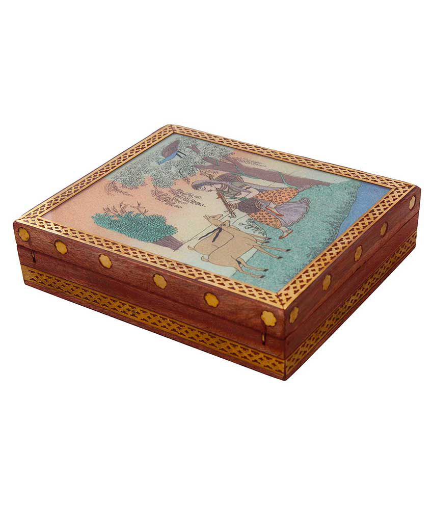 Jaipur Raga Meera Gemstone Painting Wooden Jewelry Box