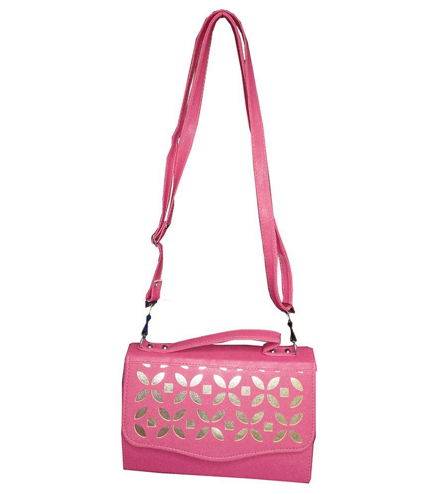 Kreative Pink PU Satchel Bag