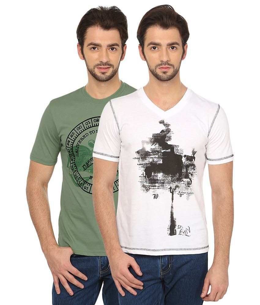 Date And Time Green and White Cotton Blend T-Shirt - Pack of 2
