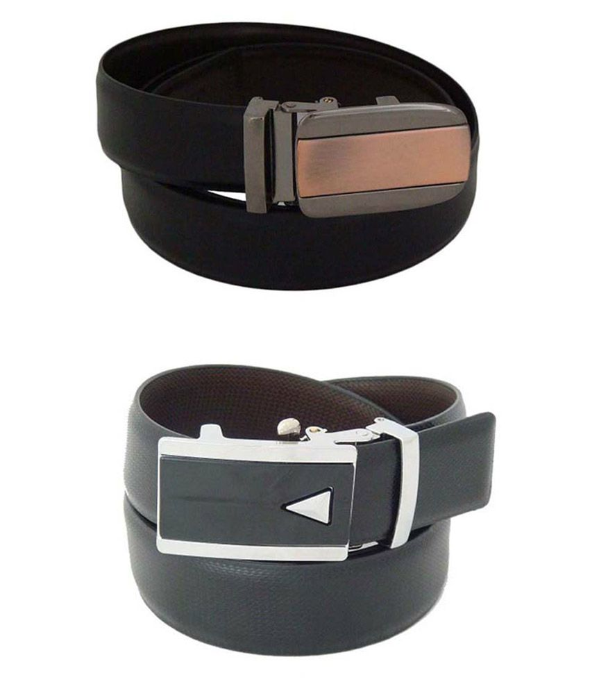 SFA Black and Brown Reversible Autolock Buckle Belt - Pack of 2
