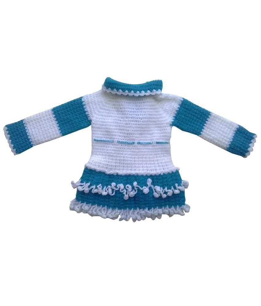 Durga Unne Ghar Sky Blue N Off White Designer Woolen Sweaters For Baby Kids