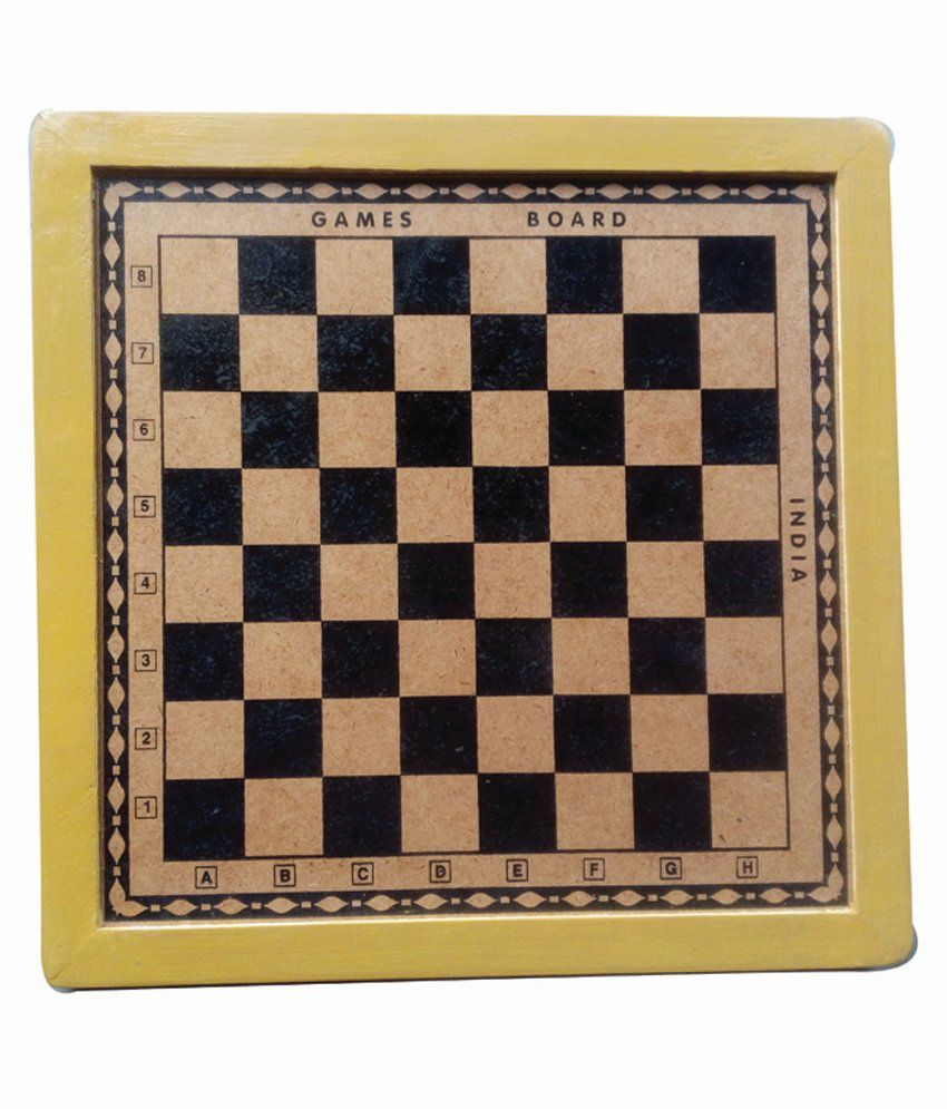Games Board Yellow Wooden Chess And Checker Board