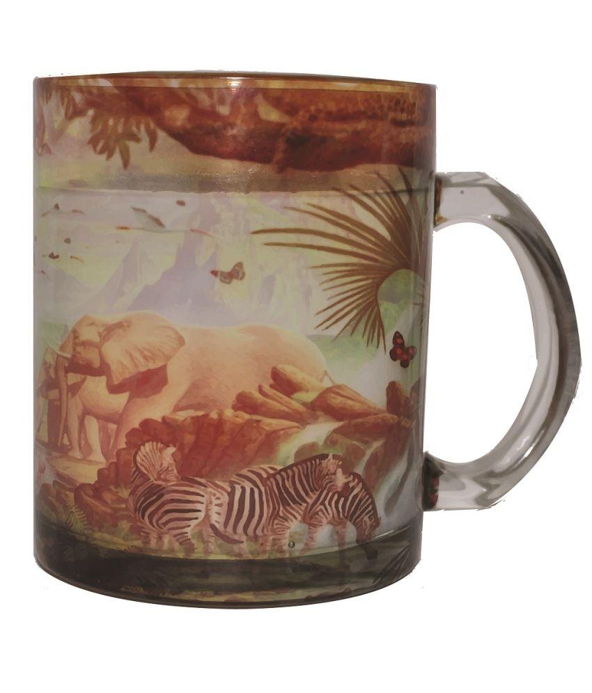 India Unusual Multicolour Glass Mug- Set Of 6