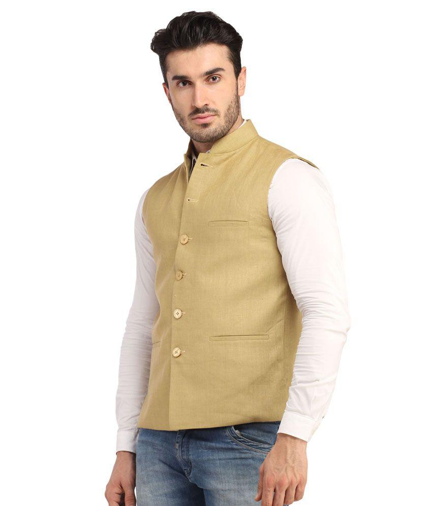 Mens jacket half -  Phedarus Men S Band Collar 100 Linen Half Jacket Golden Beige