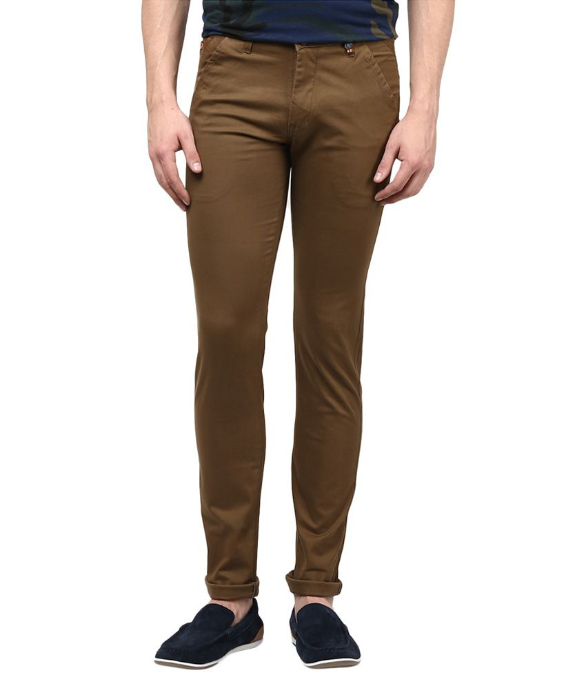 Urban Navy Brown Cotton Slim Fit Casual Chinos