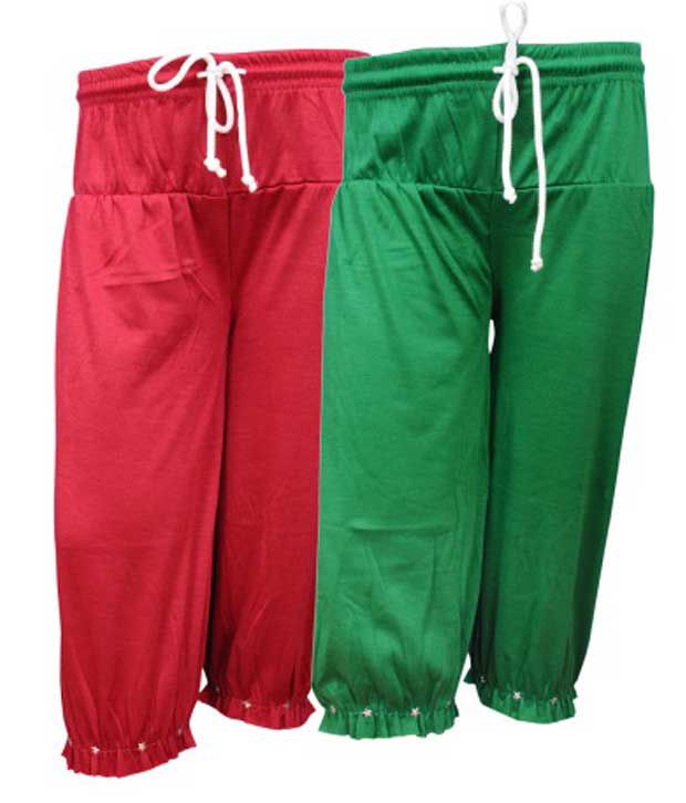 Bodymate Multicolour Cotton Blend Capri - Pack Of 2