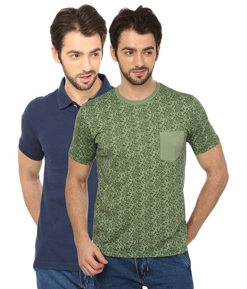 Date And Time Green Cotton Blend -Pack of 2
